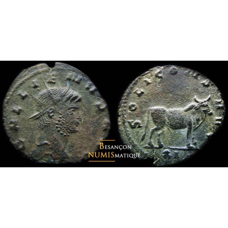 monnaie romaine de Gallien, émission du bestiaire, taureau au revers