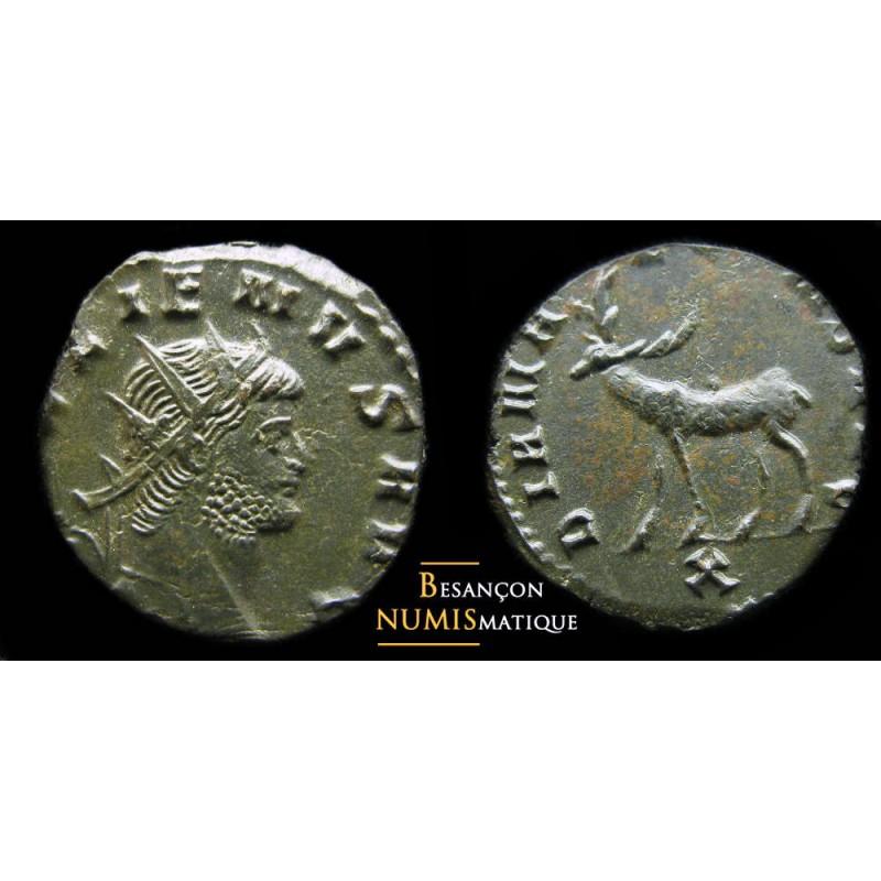 Monnaie romain de gallien avec un cerf à gauche