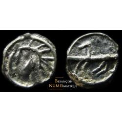 monnaie gauloise, sénons, potin tête d'indien et cheval élancé