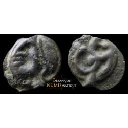 monnaie gauloise, éduens, Potin à l'hippocampe, tête casquée