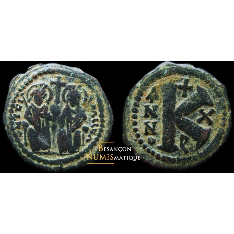 monnaie byzantine, demi follis justin II et sophie
