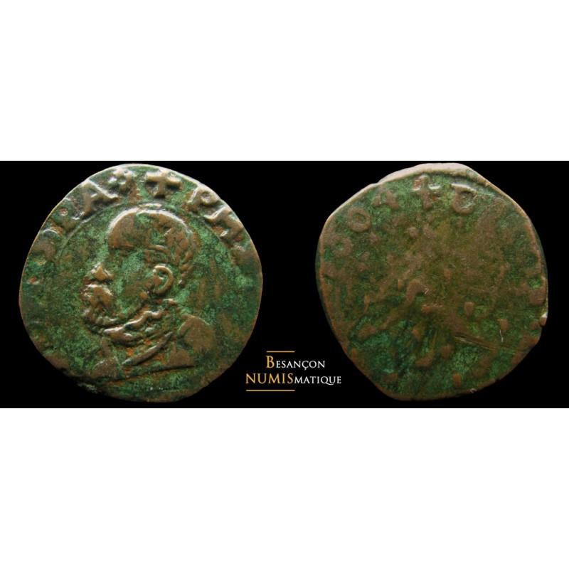 BOURGOGNE - DOLE - PHILIPPE II - 2 DENIERS - 1604 - CMR 3.4.3 - RARE !!