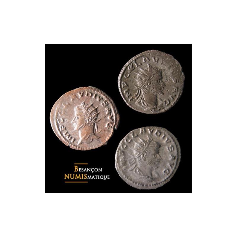 Lot 3 antoniniens de Claude II frappés à Antioche : RIC 215L, 213A et 217A