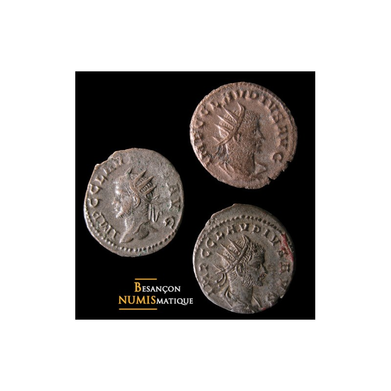Lot 3 antoniniens de Claude II frappés à Antioche : RIC 217A, 221A et 221L.