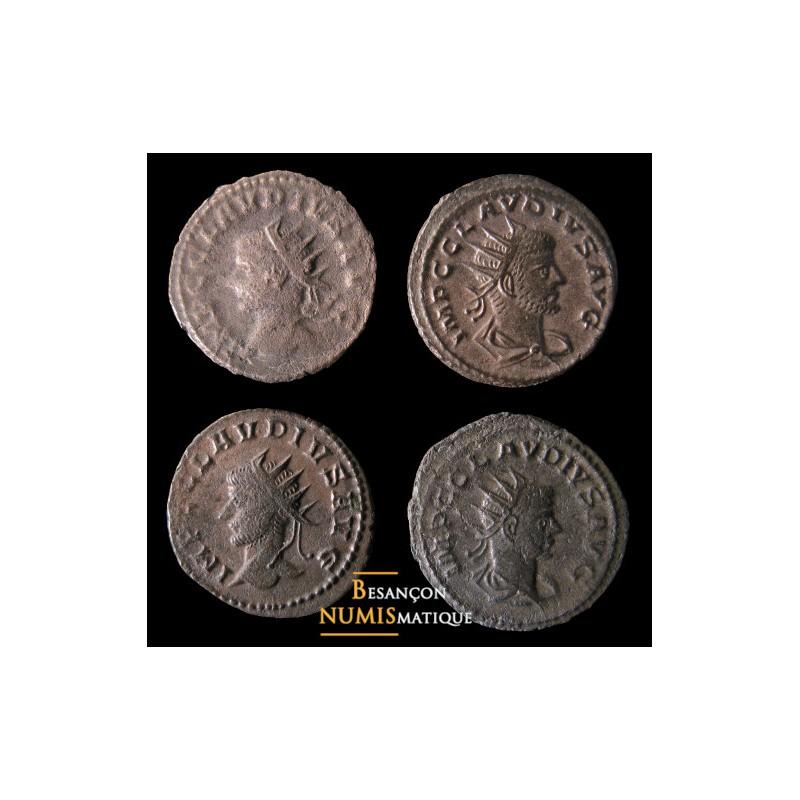 Lot de 4 antoniniens de Claude II frappés à Antioche: RIC 197L, 225A (-/-/S), 225A (-/-/●) et RIC – cf 216L