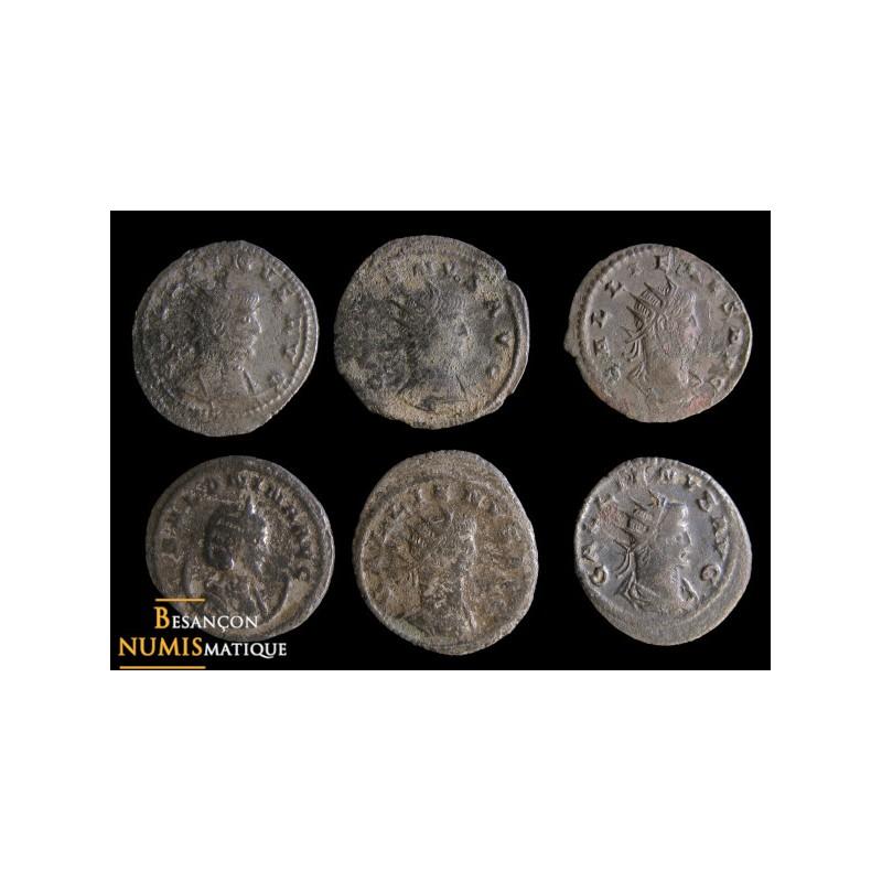 Lot de 6 antoninens de Gallien et Salonine frappés à Antioche: MIR 1656h, 1645a, 1642b, 1647b, 1670k et 1668i.