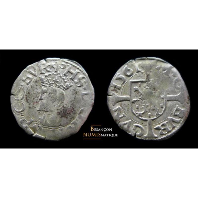 BOURGOGNE - PHILIPPE II D'ESPAGNE - DOLE - BLANC- CMR 3.1.3 - 1561 - SUPERBE !!