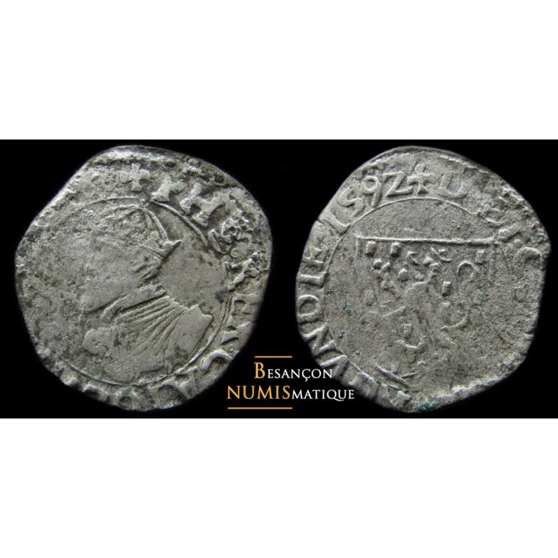 BOURGOGNE - DOLE - PHILIPPE II - CAROLUS 1592 - CMR 3.4.1 - RARE MONNAIE !