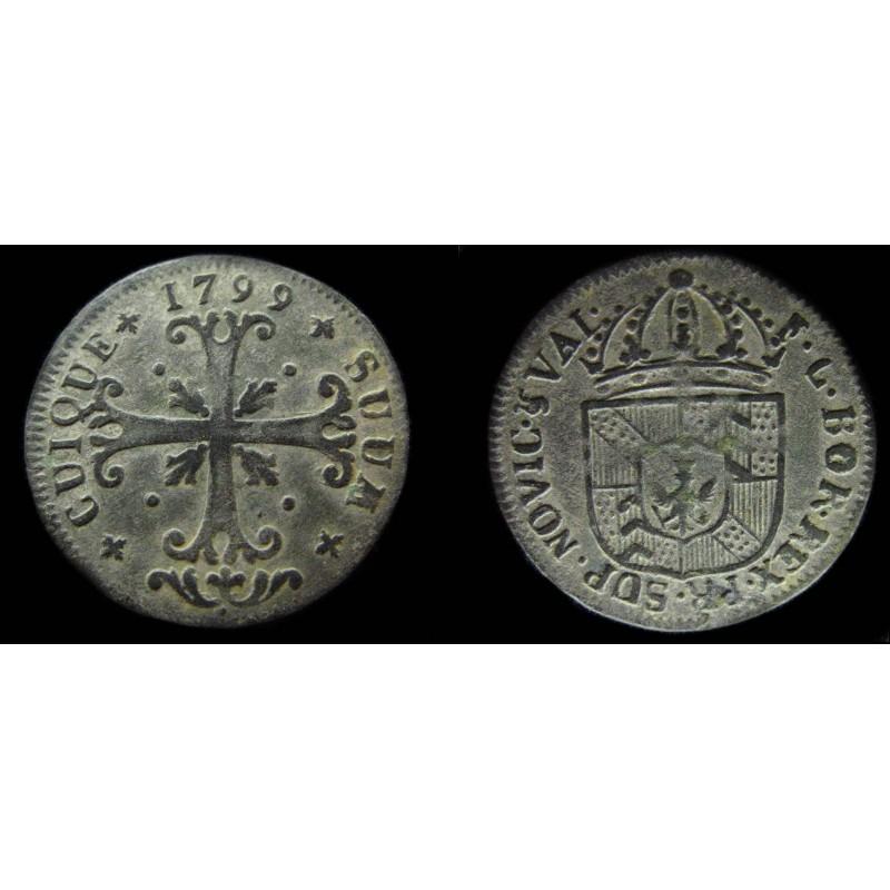 SUISSE - CANTON DE NEUCHATEL - 1/2 batz de Friedrich Wilhelm 1799 HMZ 2-717b