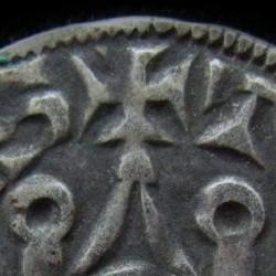 monnaie de PHILIPPE VI, DENIER  TOURNOIS, variété inédite, détail