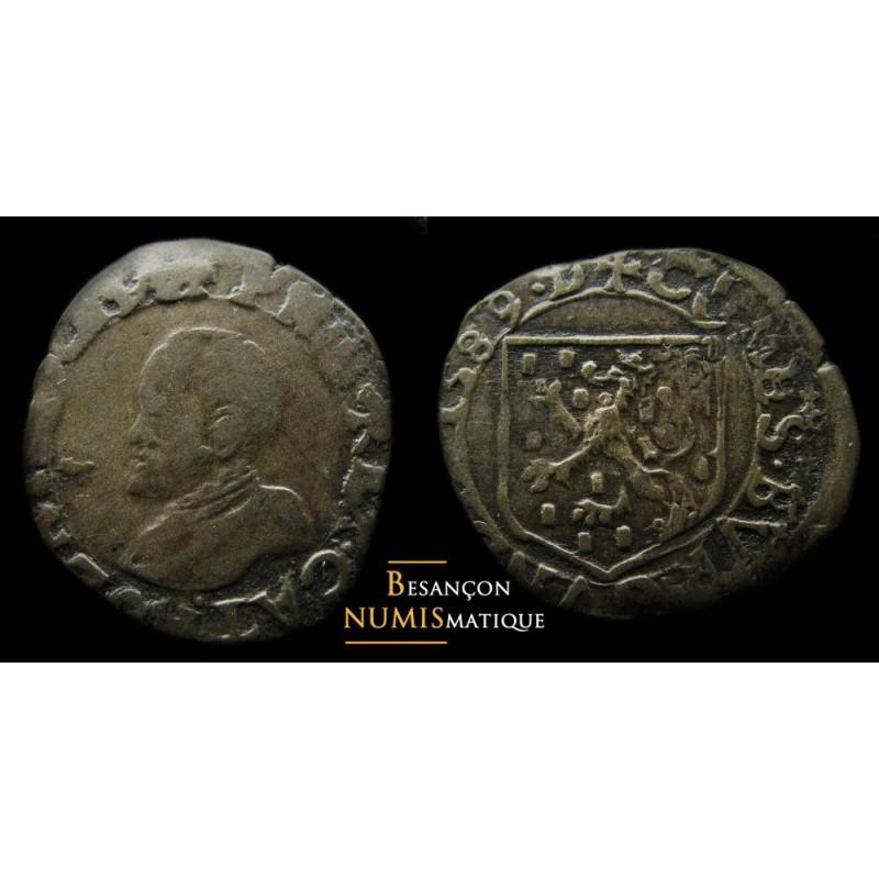monnaie féodale, de PHILIPPE II D'ESPAGNE frappée à DOLE, Carolus 1589