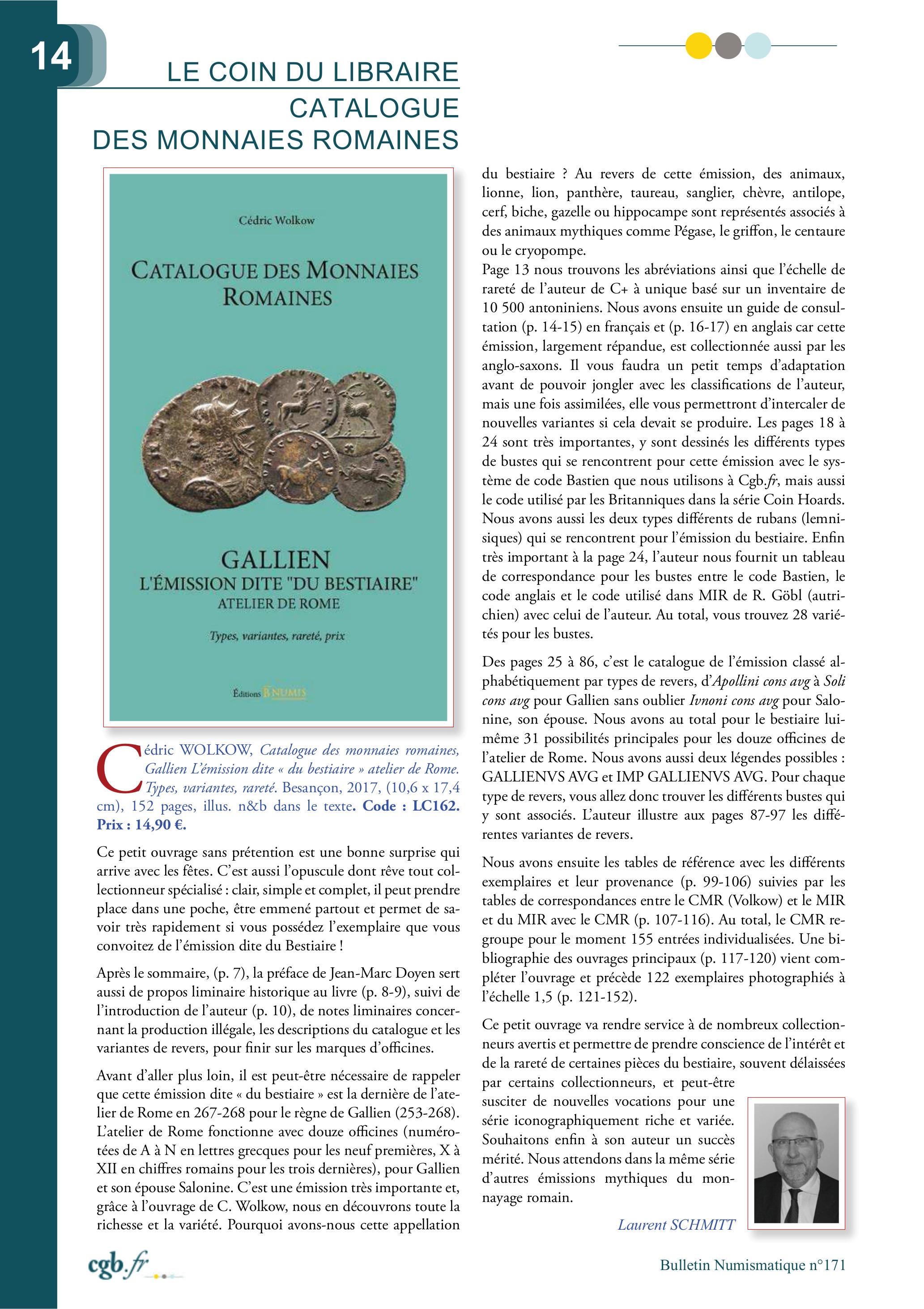 """LA REVIEW Laurent SCHMITT (C.G.B.) SUR LE CATALOGUE DES MONNAIES ROMAINES - GALLIEN - L'ÉMISSION DITE """"DU BESTIAIRE"""", par cédric Wolkow"""