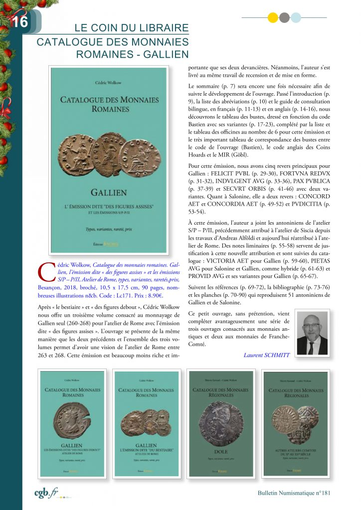 LA REVIEW de Laurent SCHMITT SUR LE CATALOGUE DES MONNAIES ROMAINES – GALLIEN – L'ÉMISSION DITE « DES FIGURES ASSISES »