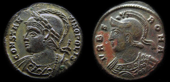 Monnaies romaines buste de constantinople et buste de roma