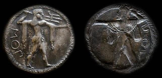 Statère incus de Poseidonia, musée national archéologique de Naples