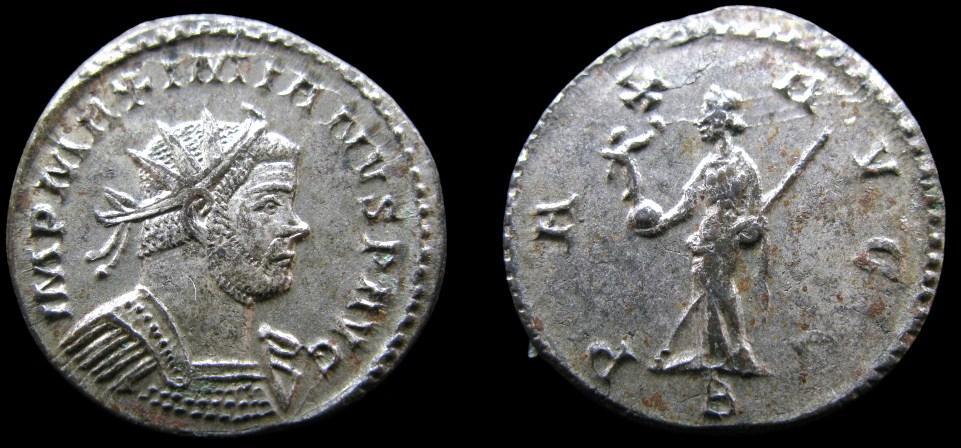 Antoninien de MAXIMIEN au revers PAX AVGG