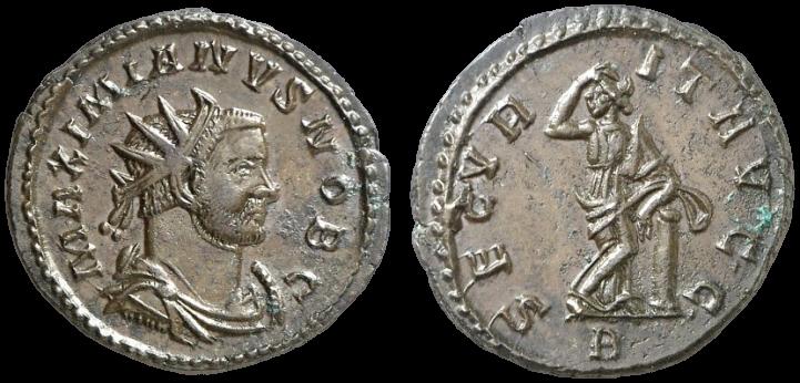 Antoninien de MAXIMIEN au revers SECVRITAS AVGG