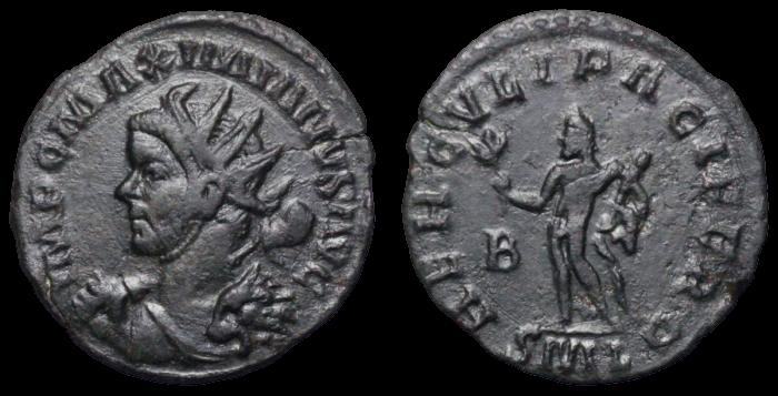 Antoninien de MAXIMIEN au buste avec massue et peau de lion