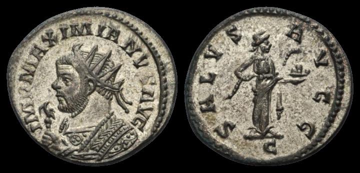 Antoninien de MAXIMIEN au revers SALVS AVGG