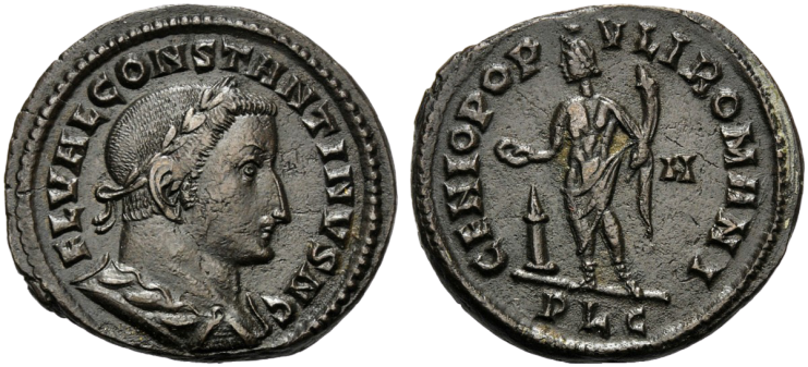Nummus de Constance Chlore au revers GENIO POPVLI ROMANI